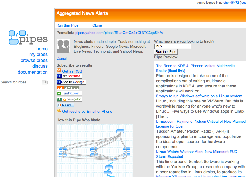 Screenshot of NewsAggregtor pipe