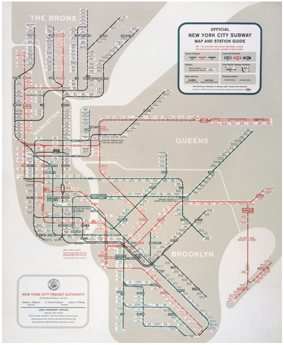 The 1958 New York City Subway map designed by George Salomon