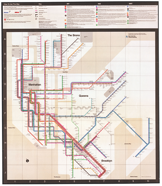 The 1972 MTA New York City subway map designed by Massimo Vignelli.
