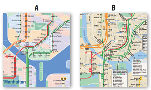 The 4 line and the 5 line as depicted by (a) the KickMap and (b) the current MTA map.