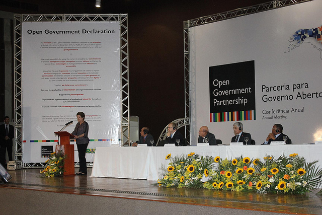 Brazilian President Dilma Roussef speaks at the 2012 annual Open Government Partnership conference