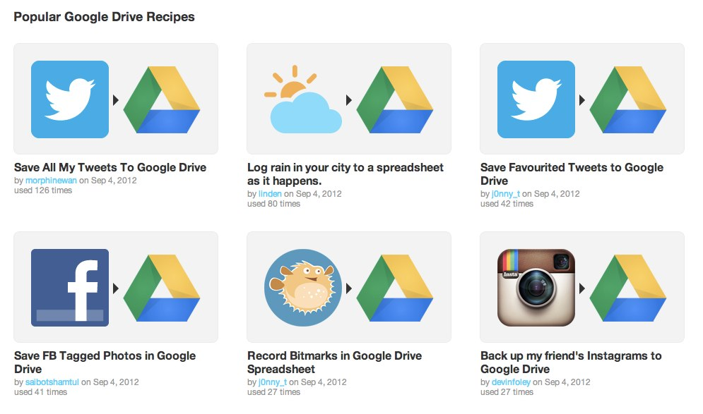 Google drive features on IFTTT