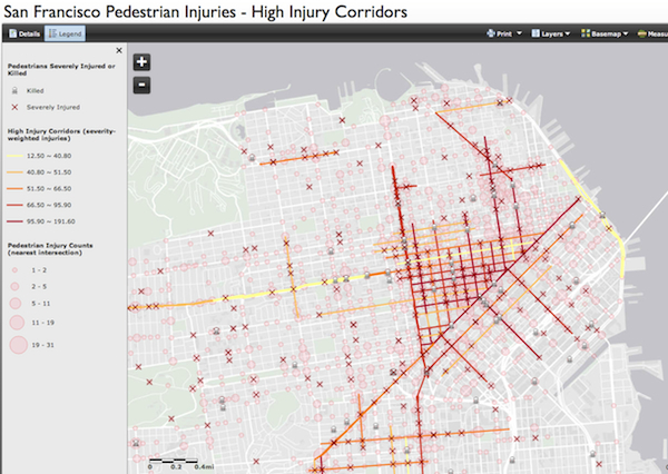 SF pedestrian injury map