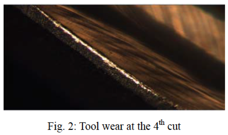 "The cutting tool, enlarged under a microscope, after four cuts (Source: X. Li, M.J. Er, H. Ge, O. P. Gan, S. Huang, L.Y. Zhai, S. Linn, Amin J. Torabi, ""Adaptive Network Fuzzy Inference System and Support Vector Machine Learning for Tool Wear Estimation in High Speed Milling Processes,"" Proceedings of the 38th Annual Conference of the IEEE Industrial Electronics Society, pp. 2809-2814, 2012.)"