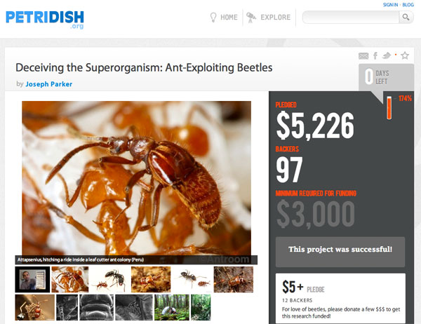 Petridish.org screenshot - funded scientific project
