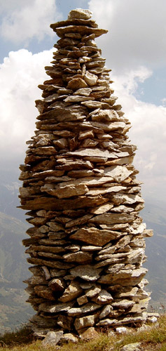 Cairn at Garvera, Surselva, Graubuenden, Switzerland.