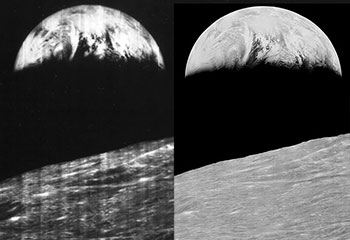 "The first ""Earthrise"" image, taken by the Lunar Orbiter 1 satellite and recovered by Dennis Wingo's Lunar Orbiter Image Recovery Project. Credit: NASA/Skycorp Incorporated"