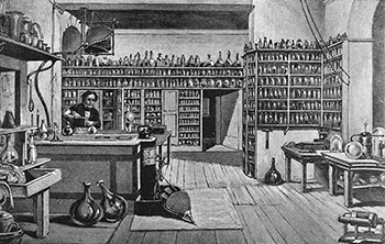 Faraday_in_his_laboratory_at_the_Royal_Institution,_London._Wellcome_M0004625